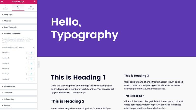 Elementor text styles